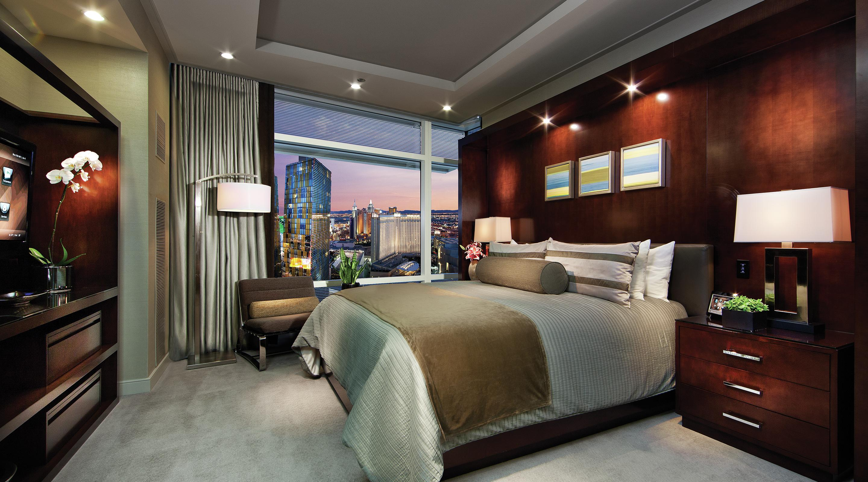 aria sky suites two bedroom penthouse suite bedroom city